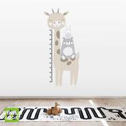 Vinilo Decorativo Medidor Infantil Girafa Nordica Niños