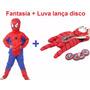 Kit Fantasia Homem Aranha + Luva Lança Disc + Mascara