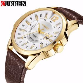 Relógio Barato Masculino Curren 8123 Dourado Pulseira Couro