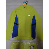 Camisa Longa Bike Track Field Lima/azul Ref 0374 Uvtech 50+