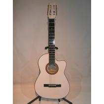 Guitarra Acustica De Paracho Blanca Tipo Requinto