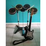 Rock Band 2 Para Wii Batería, Guitarra, Micrófono Y Baquetas