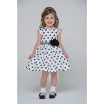 Vestido Petit Cherie Festa Branco Com Bolas Pretas