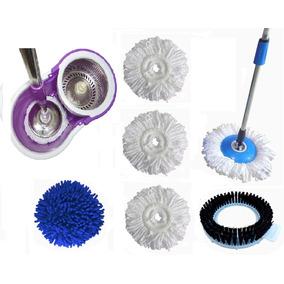 Spin Mop Balde Centrifugador Inox 3 Refil + Escova + Esponja