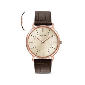 Relógio Bulova Masculino Slim Pulseira De Couro Wb22436x
