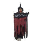 Bruxa Caveira Halloween Esqueleto Welcome Assustador 120x50