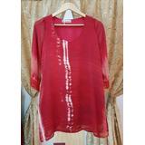 Vestido Tunica Estamopado Rojo Vachet Medidas En Descripcion