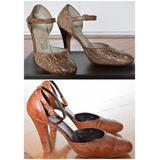 Zapatos Retro Vintage De Reptil Auténtico!! Década 70