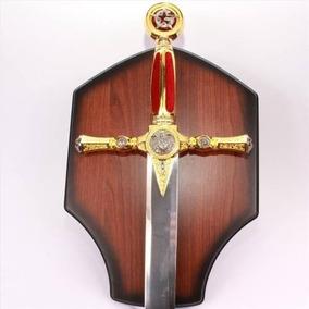 Espada Maçônica Aço Inox Enfeite Coleção Suporte Parede