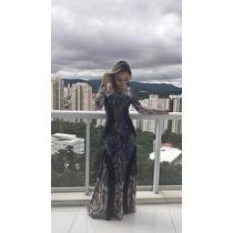 Vestido Longo Roupas Femininas Manga Longa Estampas