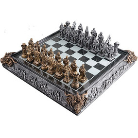 Xadrez Temático Medieval Romano Tabuleiro Luxo Jogo 32 Peças