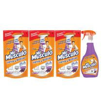 Mr Musculo Vidrios Gatillo Lavanda + Repuesto Fresca X3