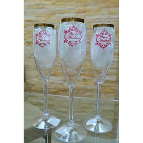 60 Taça Champanhe Champagne Borda Dourada Personalizadas
