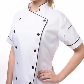 Dolma Feminina Manga Curta Chef Gastronomia Com Bordado Pers