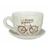 Taza Vintage Maceta Bicicleta Cerámica