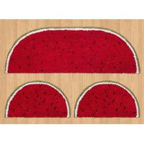 Kit Passadeira Cozinha Formato Melancia Vermelha Malha 3pçs