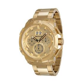 Relógio Seculus Masculino Cronógrafo Dourado 13008gpsvda6