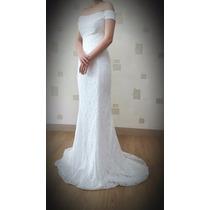 Vestido De Novia Sirena Talla 32-34 Marfil Strapless Hermoso
