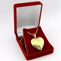 Corrente Feminina 50cm Relicario 3cm Folheado Ouro Cr103