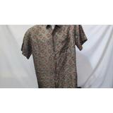 Camisa Imp Robert Stock Seda Fina G Estampada Marrom 449