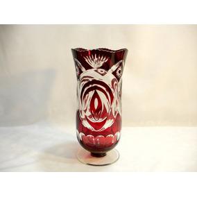Vaso Em Cristal Europeu Lapidado Belíssima E Rara Decoração