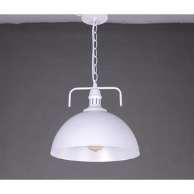 Lámpara Colgante Domo Vintage Retro Industrial Blanco