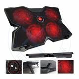 Cooler Gamer Teros Te-fn 30 Con 4 Ventiladores Led Roja