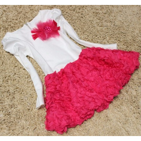 Vestido Infantil Festa Princesa Rosas Manga Longa Luxo