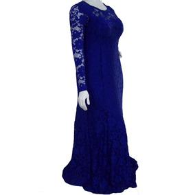 Vestido Festa - Senhora - Plus Size - Azul Royal Do 44 Ao 54