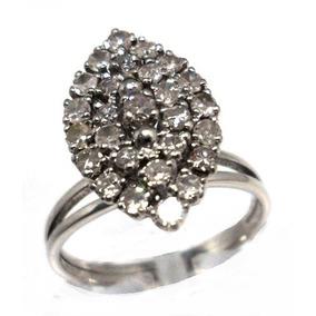 Ykz-anel Chuveiro Ouro Branco 18k- 27 Brilhantes