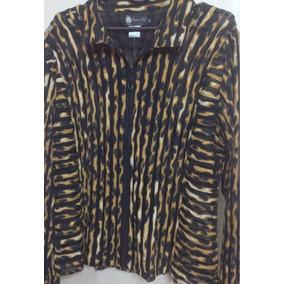 Camisa Con Cierre Animal Print Rayada X L