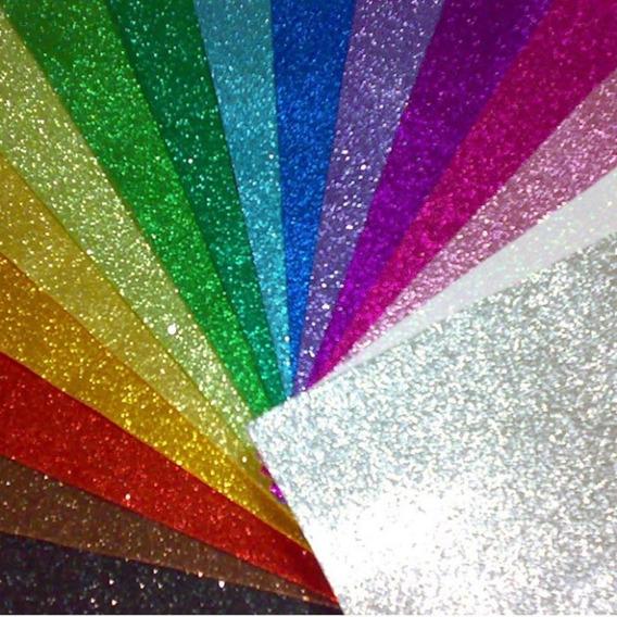 Goma Eva Glitter Brillosa 60x40cm 2mm Pack 10 U Varios Color