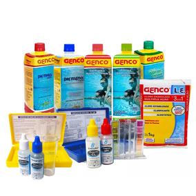 Kit Limpeza Tratamento Piscina Ph Cloro Algicida Genco