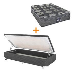 Cama Box + Colchão Dabe Black Power Solteiro Padrão Bau Cinz