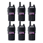 Kit 6 Rádio Ht Comunicador Baofeng Dual Band Uv82 Rádio Fm