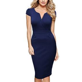 Miusol Vestido Para Negocios Retro Sleeve Slim Xl Azul 2