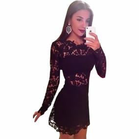 Vestido Novas Todo Em Renda Preto Mini Sexy Casual