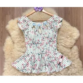 Blusa Peplum Princesa Com Decote Vazado E Detalhe De Laço