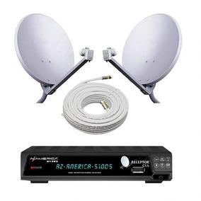 Kit Sky Gato 2 Antenas +receptor Cabo E Lnb So Assistir.