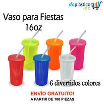 40 Vasos Con Popote Colores Fluorescentes Neón Termo 500ml