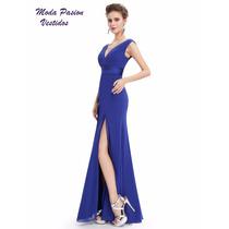 Sensual Vestido Con Escote ,espalda Y Tajo Gasa Moda Pasion