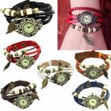 Reloj Cuero Vintage De Mujer Con Dije De Hoja Original!!