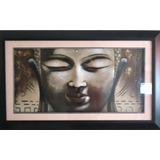 Cuadro De Buda Con Pintura Relieve Texturizado Con Vidrio