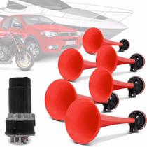 Buzina Automotiva Eletropneumática Vermelha 12v 6 Cornetas