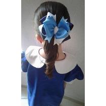 Moño Niñas Escolar Azul Con Broche Tipo Pinza
