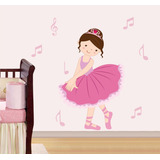 Adesivo Parede Infantil Bailarina Menina Notas Musicais 01