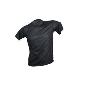 Camiseta 100% Poliester Lisa Para Pesonalizar Preta Adulto