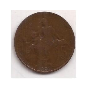 Francia Antigua Moneda De 5 Centimes Año 1901