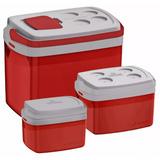 Combo 3 Caixa Térmica 32, 12, 5 L Vermelho Cooler Soprano