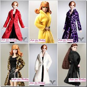 Casaco De Pele Luxo Para Boneca Barbie * Roupa * Vestido